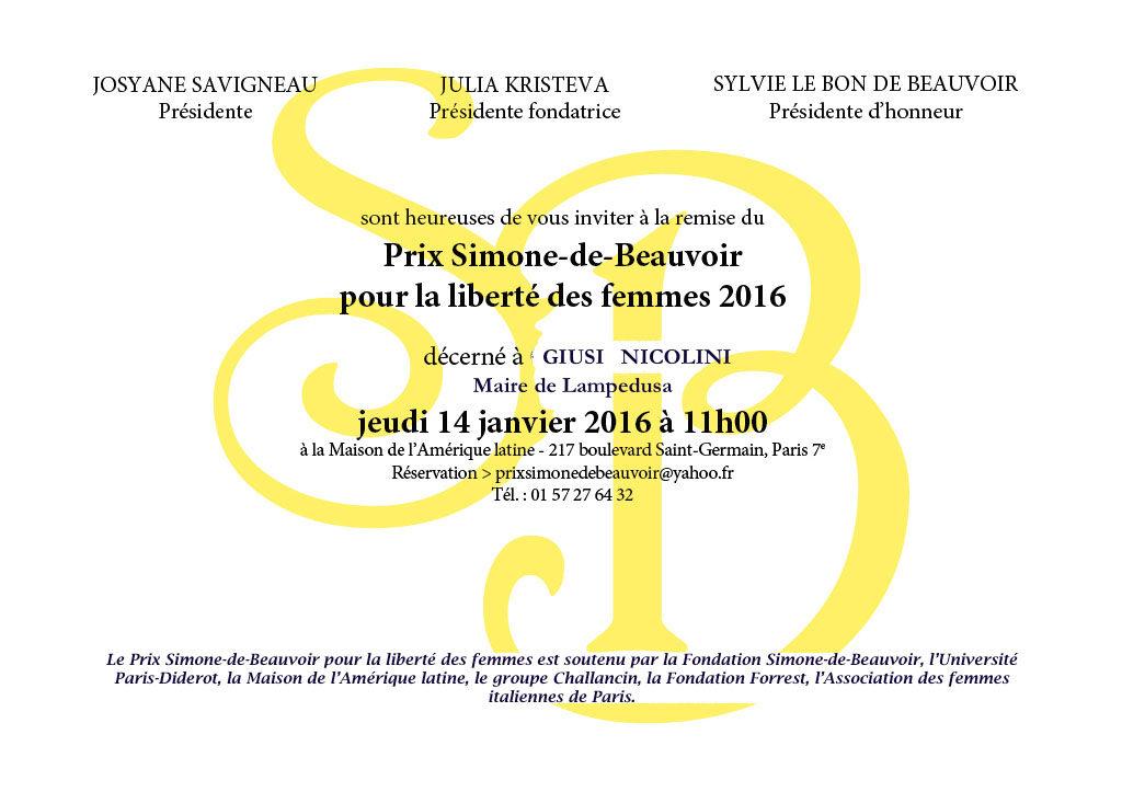 Prix Simone de Beauvoir 2016-Invitation